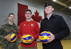 Fourth-year Royal Military College volleyball players, from left, Jordan Larocque, Scott Wood and Blake McClelland. (Ian MacAlpine/The Whig-Standard)