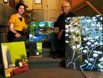 Cristina Zanella (left) and George Conklin will be showing their art work at the Old Town Hall in Waterford starting Nov. 16 until Jan. 5. A reception will be hosted on Nov. 20 from 2-4 p.m. LAURA BROADLEY/SIMCOE REFORMER