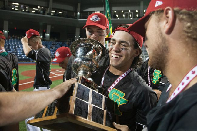 Danny Berg of Saskatchewan holds the 2016 Baseball Canada Cup. The Regional Recreation Corporation announced Wednesday they would play host to the 2018 Baseball Canada 18U Championships in August 2018. 