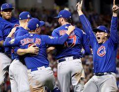 The Chicago Cubs celebrate after winning 8-7 against the Cleveland Indians in Game 7 of the World Series at Progressive Field on Nov. 2, 2016 in Cleveland, Ohio. (Ezra Shaw/Getty Images)