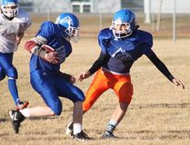 PAUL KRAJEWSKI HIGH RIVER TIMES/POSTMEDIA NETWORK. High River's Callum Minor of the École Highwood High School Mustangs football club was named the Big Rock Conference Rookie of the Year on Oct. 30. (Seen above) Minor lines up a tackle during practice on Nov. 1 at Highwood ahead of the 'Stangs 2016 provincial qualifier.