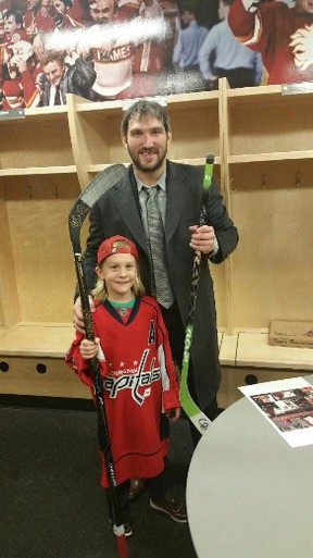 Cash Niebergall exchanged sticks and signatures with the Great 8, Alex Ovechkin, after what turned out to be a surreal eighth birthday week. - Photo supplied