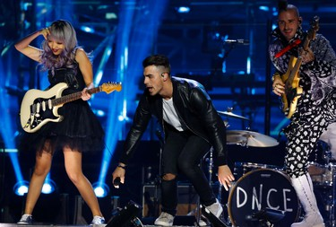 DNCE performs  during the MTV European Music Awards 2016, in Rotterdam, Netherlands, Sunday, Nov. 6, 2016. (AP Photo/Peter Dejong)