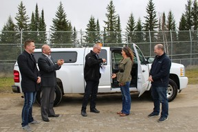 Attending the donation presentation was John Pitcher, Communication Lead, Ontario, Michel Blier, TransCanada Pipeline Operations Manager, Karen Cummings, Manager of the Polar Bear Habitat, Mayor Peter Politis, and Dean Breathat PBH Board Director.