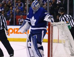 Maple Leafs goaltender Frederik Andersen scoops out the fourth goal by the Kings during second period action at the Air Canada Centre in Toronto on Tuesday, Nov. 8, 2016. (Dave Abel/Toronto Sun)