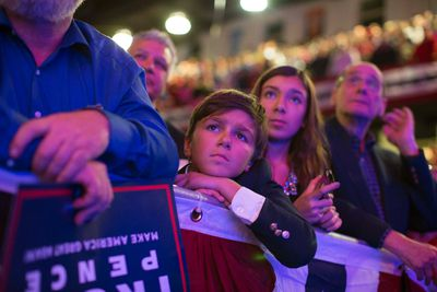 Supporters of Republican presidential candidate Donald Trump listen to him speak during a campaign rally at Lackawanna College, Monday, Nov. 7, 2016, in Scranton, Pa. (AP Photo/ Evan Vucci)