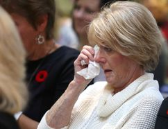 Cheryl Bruno becomes emotional at Health Sciences North in Sudbury, Ont. on Tuesday November 8, 2016. Dr. Eric Hoskins was in town to help announce $4.6 million to build the space needed for the new PET scanner at Health Sciences North, and the Northern Cancer Foundation announced the committee has reached its fundraising goal. Gino Donato/Sudbury Star/Postmedia Network