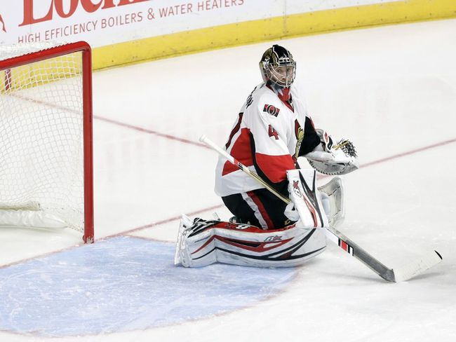 A shot by Nashville Predators defenseman Ryan Ellis gets past Ottawa Senators goalie Craig Anderson for a goal during the third period of an NHL hockey game Tuesday, Nov. 8, 2016, in Nashville, Tenn. The Predators won 3-1. (AP Photo/Mark Humphrey)