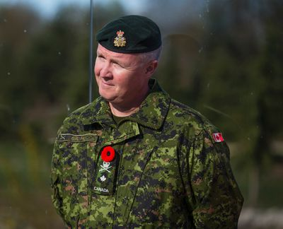Brigadier-General Stephen Cadden of the Canadian Armed Forces during an event where Juno, a polar bear at the Toronto Zoo, and mascot of the Canadian Armed Forces, celebrates her upcoming first birthday with a frozen treat and an honorary promotion to Corporal during an event at the Polar Bear Habitat in the Tundra Trek Toronto, Ont. on Wednesday November 9, 2016. Ernest Doroszuk/Toronto Sun/Postmedia Network