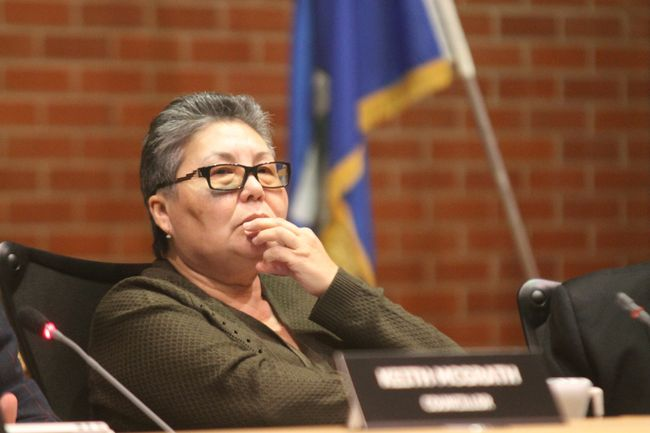 Ward 2 councillor Julia Cardinal listens during council in Fort McMurray Alta. on Tuesday November 8, 2016. 