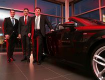 Joel Paquette, general manager of Audi Sudbury, along with Daniel Weissland, president of Audi Canada, and Marc Paquette, dealer principal at Audi Sudbury, during the car dealership's grand opening party on Wednesday night, featuring a new state-of-the-art building. Gino Donato/The Sudbury Star