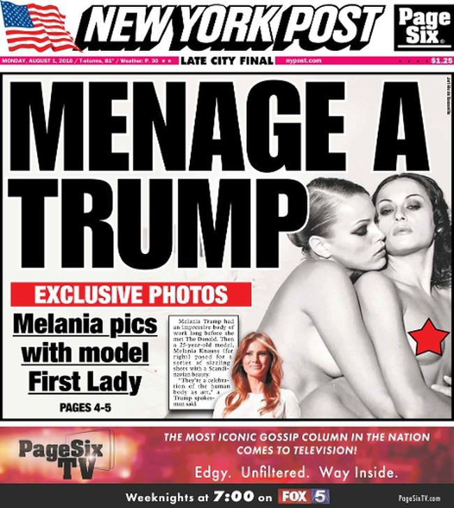 A New York Post front page of Melania Trump