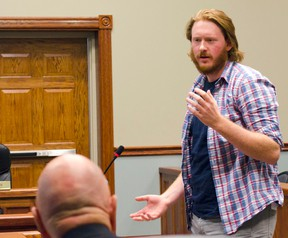 Alex Menary, president of Square Brew Inc., explains to Goderich council the idea behind is new company that he plans to open at 430 Parsons Court. (Darryl Coote/The Goderich Signal Star)