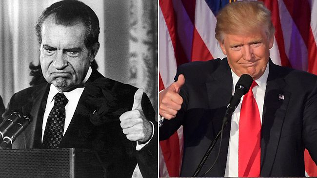 Former U.S. president Richard Nixon, left, and president-elect Donald Trump are pictured in these file photos. (AFP/Getty Images Files)