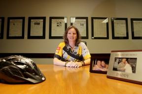 Emily Mountney-Lessard/The Intelligencer Carrie Golden, 39, who lives near Foxboro, is one of three local riders on The Road Apples team taking part in the Enbridge Ride to Conquer Cancer benefiting Princess Margaret Cancer Centre.  She is shown here at The Intelligencer office in Belleville.