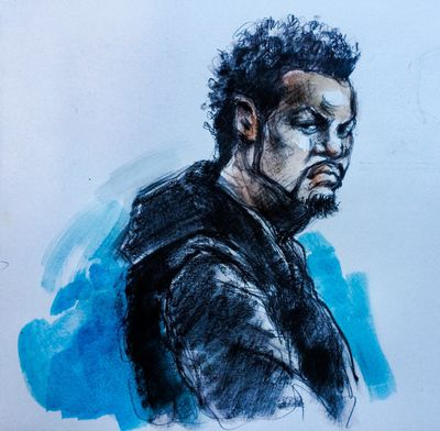 Kamari Folkes appears in court charged with the second-degree murder of Julian Jones on Thursday, Nov. 10, 2016. (Sketch by Pam Davies)