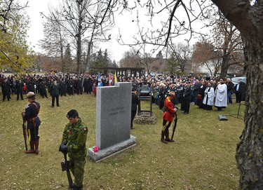 The Southern Alberta Light Horse regiment along with officials including the premier at the cenotaph in Light Horse Park for a Remembrance Day ceremony in Edmonton, Friday, November 11, 2016. Ed Kaiser/Postmedia (Edmonton Journal story by Gordon Kent)