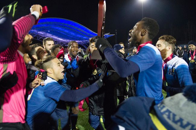 The Humber Hawks celebrate after beating the Keyano Huskies 2-0 in the CCAA Men's Soccer National Championship game at Shell Place Saturday. With the silver medal, the Huskies recorded their best-ever finish at a national championship. Robert Murray/Fort McMurray Today/Postmedia Network