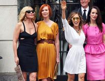 "Kim Cattrall, Cynthia Nixon, Sarah Jessica Parker and Kristin Davis pose for a photo while on the set of the film ""Sex and the City 2."" (<A HREF=""http://www.wenn.com"" TARGET=""newwindow"">WENN.COM</a>)"