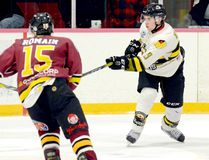 Rookie defenceman Tye Lindeman, shown here in action during an NOJHL game against the Timmins Rock at the McIntyre Arena on Sept. 22, scored his first two NOJHL goals and added an assist to help lead the Voodoos to a 6-1 win over the Cochrane Crunch in Powassan Monday night. It was the 12th-straight win for the Voodoos who sit atop the East Division standings and the NOJHL. THOMAS PERRY/THE DAILY PRESS