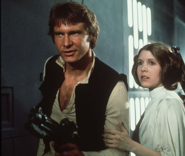 Carrie Fisher as Princess Leia and Harrison Ford as Han Solo in Star Wars. (Handout photo)