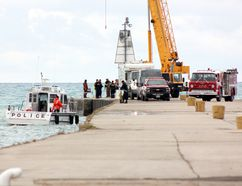 Ontario Provincial Police Search and Recovery Unit divers joined Municipality of Kincardine Fire and Emergency Services on Kincardine's north pier after a vehicle entered the water Nov. 15, 2016 at about 4 p.m. A crane was also on site, as well as an OPP drone to assist in the search.