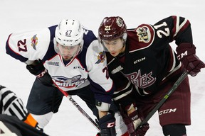 Forward Jonathan Ang #21 of the Peterborough Petes battles on a faceoff against forward Hayden McCool #27 of the Windsor Spitfires on November 13, 2016 at the WFCU Centre in Windsor, Ontario, Canada. (Photo by Dennis Pajot/Getty Images)