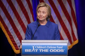 Former Secretary of State Hillary Clinton delivers remarks while being honored during the Children's Defense Fund's Beat the Odds Celebration at the Newseum November 16, 2016 in Washington, DC. This was the first time Clinton had spoken in public since conceeding the presidential race to Republican Donald Trump. (Chip Somodevilla/Getty Images)