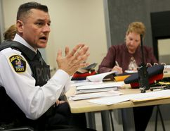 Emily Mountney-Lessard/The Intelligencer Belleville Police Service deputy chief Ron Gignac presents the 2016-2018 Community Safety Plan to the Belleville police services board during the meeting held at the Quinte Sports and Wellness Centre, on Thursday in Belleville.