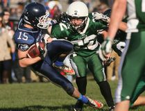 St. Mary's Mustangs' Derek Price, left, jumps into the Guelph Gaels end zone ahead of a tackle during the CWOSSA football semi-final match between the St. Mary's High School Mustangs and the visiting Guelph Colligate Institute Gaels at Victoria Park on Thursday, November 17, 2016 in Owen Sound, Ont.