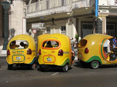 Classic cars are not the only way to get around in Havana. LIttle three-wheeled Coco taxis aill also take you where you want to go. JANE STEVENSON/POSTMEDIA NETWORK