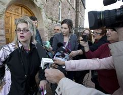 Susan Horvath, daughter of Arpad Horvath, one of the alleged victims of long-term care provider Elizabeth Wettlaufer, talks to the media following a video appearance by the accused in Woodstock, Ont. on Friday November 18, 2016. Craig Glover/The London Free Press/Postmedia Network