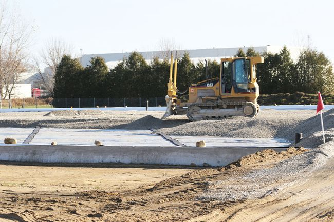 Work continues Thursday November 17, 2016 on the base of the premier artificial turf soccer field being built off Dunn Road in Stratford, Ont. The new field will be the centrepiece of the Festival Hydro Community Park. Mike Beitz/Stratford Beacon Herald/Postmedia Network
