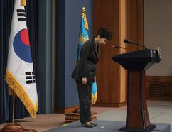 "In this Friday, Nov. 4, 2016 file photo, South Korean President Park Geun-hye bows before addressing the nation over a ""heartbreaking"" scandal at the presidential Blue House in Seoul. (Ed Jones/Pool Photo via AP, File)"