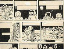 Tintin Explorers on the Moon drawing