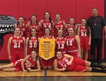 The Champlain Requins senior girls basketball team pose with their Division B NOSSA banner on Saturday. Special to The Star