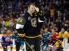 John Scott listens to the cheers as he gets ready to compete in the hardest shot competition at the NHL hockey All-Star game skills competition on Jan. 30, 2016, in Nashville. (AP Photo/Mark Humphrey)