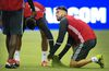 TFC's Jonathan Osorio examines the turf at Olympic Stadium in Montreal on Monday. (THE CANADIAN PRES)