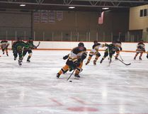 Genessie Williams makes her way into the attacking zone during the peewee Palominos game on Saturday, when they took on Okotoks at the Tom Hornecker Recreation Centre. Steve Sucha Nanton News