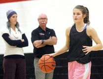 Northern Vikings co-captain Skyla Minaker practices with her teammates with coaches Kendel Ross and John Thrasher looking on inside the high school's gym on Tuesday November 22, 2016 in Sarnia, Ont. The Vikings open OFSAA Thursday in Toronto against the Glebe Gryphons. (Terry Bridge/Sarnia Observer)