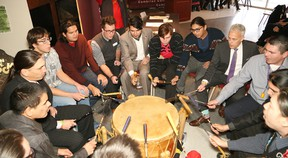 The Wabnode men's drum group perform at a ceremony marking a partnership between Cambrian College and the National Centre for Truth and Reconciliation at Cambrian College in Sudbury, Ont. on Wednesday November 23, 2016. John Lappa/Sudbury Star/Postmedia Network