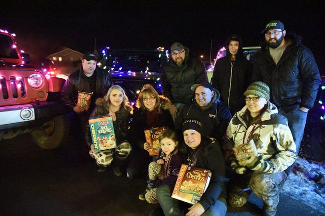 The Grande Prairie Jeep Club, PNB Club, and True North Rams decorated their Jeeps with lights and collected more than $3,000 worth of food in one week for the Salvation Army food bank last year. This year's food drive is again underway. Pictured on Sunday December 6, 2015, from left to right: Trevor Samocki, Shantel Groat, Kathy Klunder, Neill Klunder, Stephanie Tucker, Elizabeth Tucker, Andrew Southern, Matt eastwood, Kevin Valeri, and Jessica Burton. Svjetlana Mlinarevic/Grande Prairie Daily Herald-Tribune/Postmedia Network
