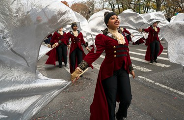 Members of the Hendrickson High School band from Pflugerville, Texas, march on Central Park West during the Macy's Thanksgiving Day Parade in New York Thursday, Nov. 24, 2016. (AP Photo/Craig Ruttle)
