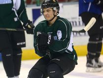 London Knights forward Robert Thomas rides his stick in the warm-up before practice at Budweiser Gardens on Thursday. (MORRIS LAMONT, The London Free Press)