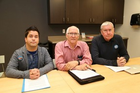 Jason Harasymchuk, left, a local registered practical nurse, Tom Carrothers, chair of the Advocacy Committee of Family Councils, and Michael Hurley, vice-president of CUPE, participated in a press conference in Sudbury, Ont. on Thursday November 24, 2016, about the need for a four-hour daily standard of care for residents in long-term care. John Lappa/Sudbury Star/Postmedia Network