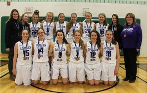 The Lo-Ellen Park Knights senior girls basketball team poses with their OFSAA bronze medals in Timmins on Saturday. Special to The Star