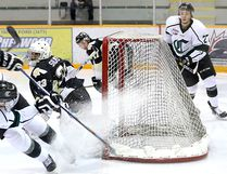 Captain Ben Sowa had two goals in the Cru's 6-1 win over Bonnyville on Saturday. Photo Courtesy Target Photography