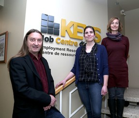 Keys Job Centre staff, from left, executive director Michael Harris, program manager Madeleine Nerenberg and volunteer co-ordinator Christine Mylks at their office in Kingston. (Ian MacAlpine/The Whig-Standard)