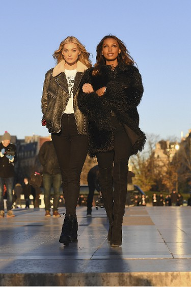 PARIS, FRANCE - NOVEMBER 29:  (L-R)  Elsa Hosk and Jasmine Tookes attend a photocall for the Victoria's Secret Angels ahead of the annual fashion show at The Eiffel Tower, on November 29, 2016 in Paris,ÊFrance  (Photo by Pascal Le Segretain/Getty Images for Victoria's Secret)