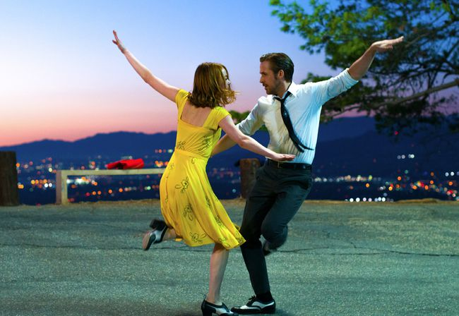 Emma Stone and Ryan Gosling dance in a scene from La La Land. (Handout Photo)